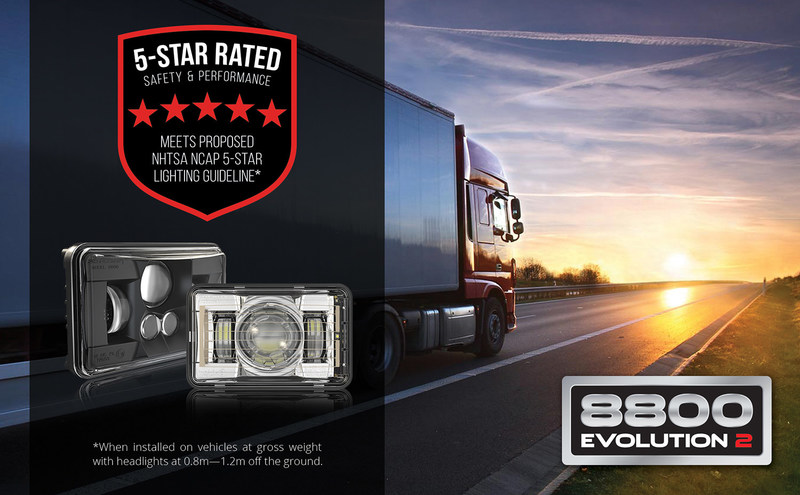"""The Model 8800 Evolution 2 by J.W. Speaker Corporation is a 4"""" x 6"""" LED headlight  for the heavy-duty trucking market, the industry's first to meet proposed National Highway Transportation Safety Administration (NHTSA) guidelines for a 5-Star NCAP-compliant low beam headlight (when installed on vehicles at gross weight with headlights at 0.8--1.2m off the ground)."""