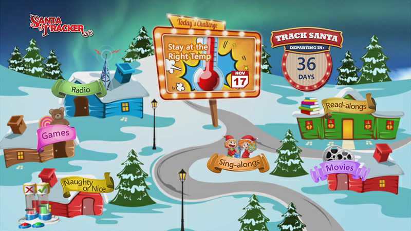 Home screen for Comcast X1 Santa Tracker