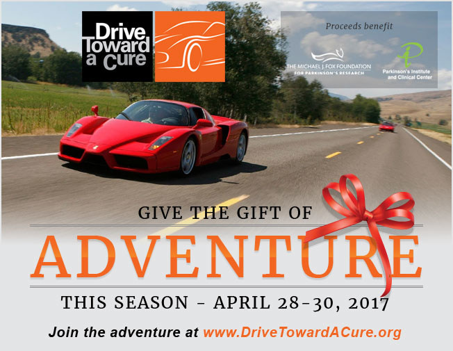Drive Toward a Cure is taking advantage of the holiday timeframe and offering a limited holiday discount for the April 28-30, 2017 weekend lifestyle charity event - use promo code HOL200 through January 10th for $200 discount off registration at http://www.drivetowardacure.org/california-adventure-2017/
