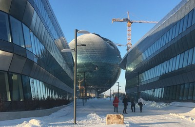 Picture of Expo Astana 2017 during construction. Expomobilia is responsible for the implementation of the Swiss Pavilion. (PRNewsFoto/Expomobilia AG)