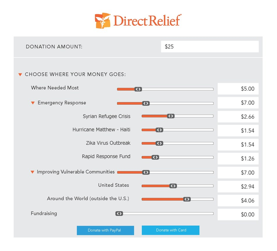 Direct Relief's new online donation interface, available at https://www.directrelief.org/give/.
