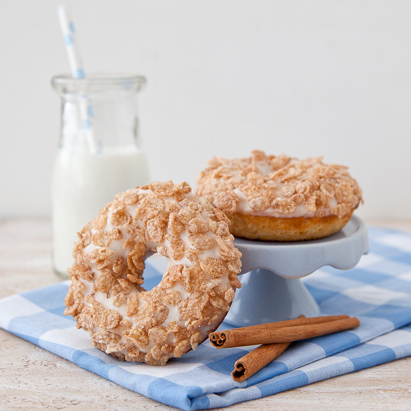 Cinnamon Pebbles Doughnuts are sure to be a crowd pleaser at the breakfast table.