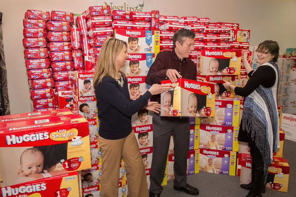 To help close the #DiaperGap in March 2016, Meijer and Huggies donated $10,000 and 150,000 diapers to the National Diaper Bank Network. The diapers were distributed to three diaper banks (50,000 each), including the Holland, Mich.-based Nestlings Diaper Bank to help babies in need throughout West Michigan and the Midwest. (Rex Larsen/AP Images for Huggies, Meijer)