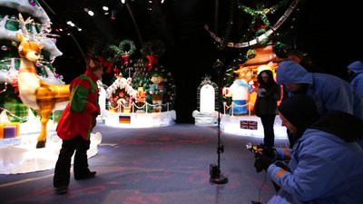 """Behind the scenes production of """"Elf-Venture in ICE."""" This 360 degree Virtual Reality video is being made available, free of charge, to patients at Children's Hospitals here and around the country and to other kids, thanks to VIVA VR Studios (www.vivaVRstudios.com) of Rockville, MD., in partnership with Gaylord National's ICE! Featuring Christmas Around the World."""