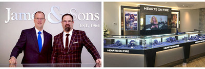Hearts On Fire congratulates Midwestern Jeweler James & Sons for receiving its highest honor of Global Retailer of the Year for 2016. Pictured on the left are owners Jim and John Sunderland; and, on the right, the new Hearts On Fire in-store branded boutique in James & Sons.