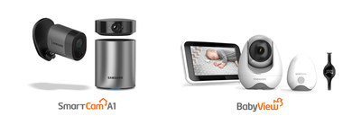 At CES 2017, Hanwha Techwin America will unveil the Samsung Wisenet-SmartCam A1 Home Security System (left) and BabyVIEW Baby Monitoring Systems (right).