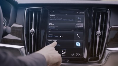 Skype for Business in Volvo cars will help to keep you focused on the road while you take care of business (PRNewsFoto/Volvo Car Group)