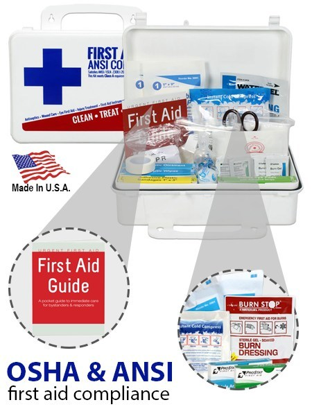 A simple $20 spend for assurance of OSHA & ANSI First Aid Compliance for your business - Made in USA ANSI Bulk First Aid Kit, Plastic, 74 Pieces, ANSI A, 25 Person. New ANSI Standard Minimum Requirements for Workplace First Aid Kits and Supplies guidelines, general requirements include the following items: Adhesive bandages, adhesive tape, antibiotic application, antiseptic, a breathing barrier, burn dressing (gel soaked), burn treatment, cold packs, eye covering, eye/skin wash, first aid guide,