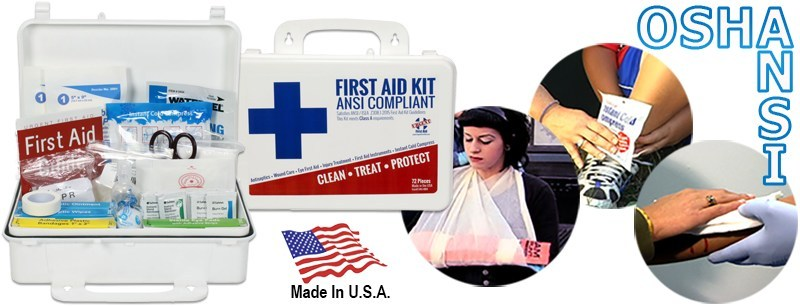 Worried about ANSI and OSHA requirements? This affordable complete ANSI/OSHA first aid kit is Made right here in the USA. The Urgent First Aid kit is Class A first aid kit compliant. It meets or exceeds the most recent OSHA and ANSI Standard fill requirements, with contents designed to deal with most common types of workplace injuries so you know you and your employees will be covered with the new ANSI requirements. Just $19.99 for OSHA & ANSI compliance for workplaces of up to 25 employees!