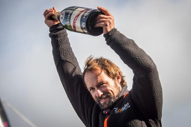 Thomas Coville celebrating his victory with Mumm (PRNewsFoto/Maison Mumm)