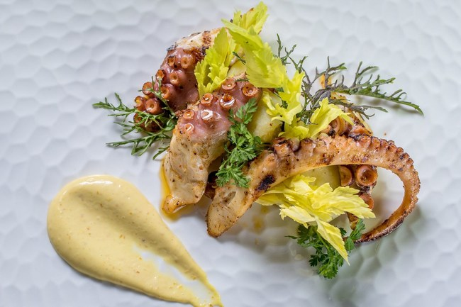 Grilled Octopus, one of Farmhouse Inn's signature dishes from Michelin starred chef Steve Litke