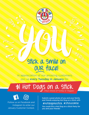 $1 Hot Dogs Every Tuesday in January at Hot Dog on a Stick.