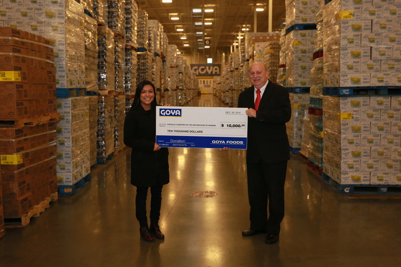 GOYA GIVES AN ON-GOING DONATION OF 125,000 POUNDS OF FOOD AND $10,000 TO CATHOLIC CHARITIES OF THE ARCHDIOCESE OF NEWARK