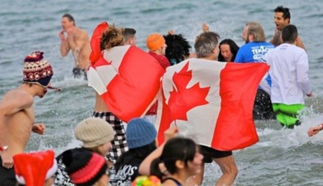 "The Courage Polar Bear Dip, the largest charity polar bear dip in Canada, will celebrate ""Canada 150"" with nearly 1,000 Canadian dippers aiming to raise $150,000 for World Vision clean water projects in Africa. (CNW Group/World Vision Canada)"