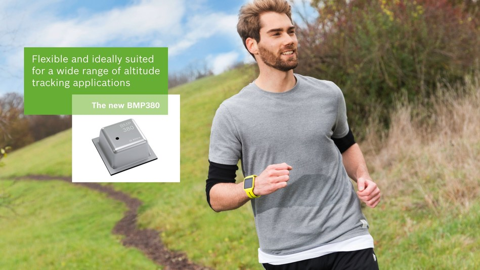Bosch Sensortec launches smallest high performance barometric pressure sensor at CES2017. Flexible and ideally suited for a wide range of altitude tracking applications. (PRNewsFoto/Bosch Sensortec)
