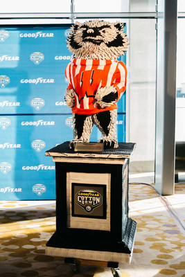 Goodyear unveils life-size tire sculptures of the University of Wisconsin-Madison's mascot, Bucky Badger, and the University of Western Michigan Bronco on Thursday, Dec. 29 in Dallas. The 'Blimpworthy' artwork, made from more than 500 Goodyear tires, honors the hard work, determination and grit of both teams in their journey to the 2017 Goodyear Cotton Bowl Classic.