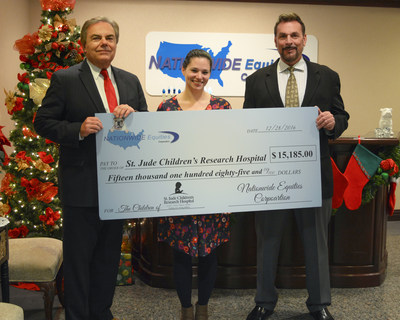 Nationwide Equities Partners, Glenn Wallace and Paul Lamparillo, presenting a $15,185 check to St. Jude Program Director, Pamela Geiger.
