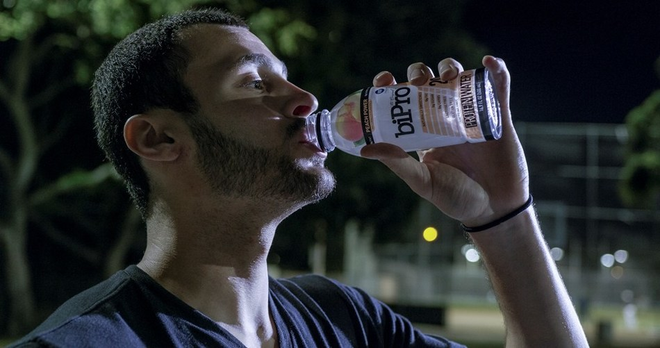 Larry Nance Jr. drinking BiPro Protein Water.