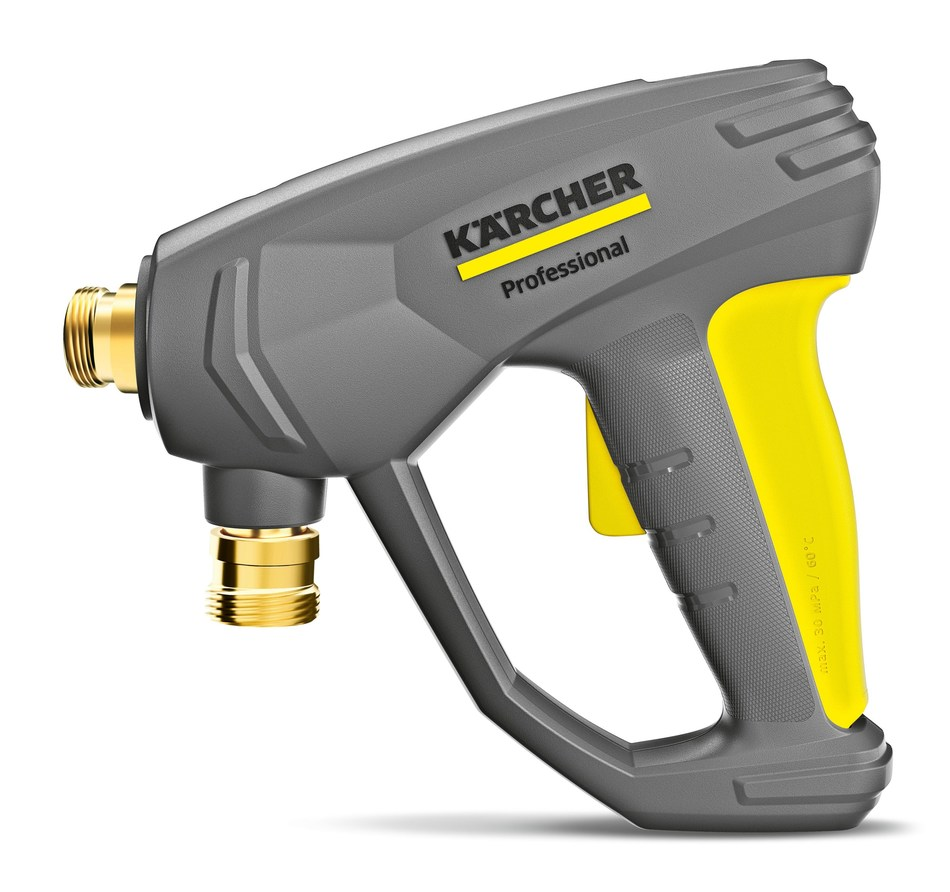 EASY!Force, the new trigger gun for professional hot and cold water pressure washers from Karcher. The yellow and black trigger is visible at the back of the handle. The recoil of the water spray presses the handle into the ball of the hand. The trigger gun can be used in continuous operation without additional force and effort. A yellow safety lever in the handle prevents accidental operation of the trigger gun.