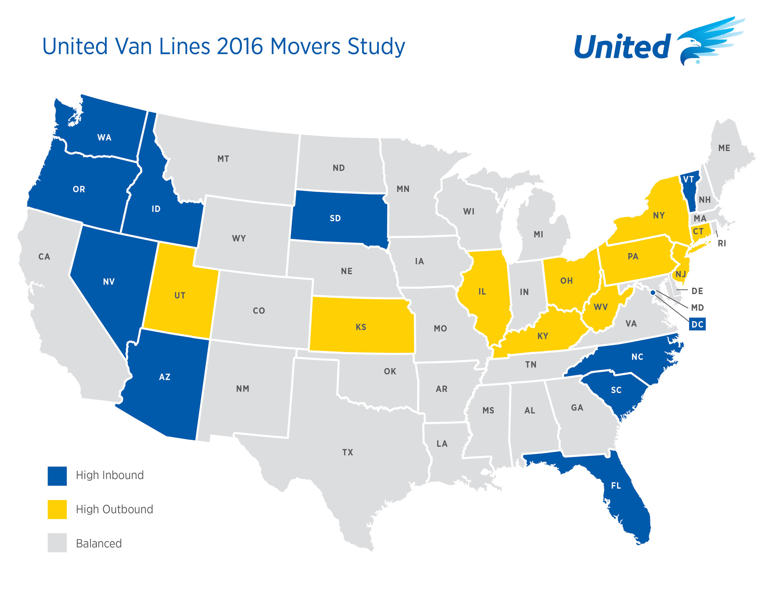 United Van Lines Annual National Movers Study Shows Retirees - Us migration map 2017