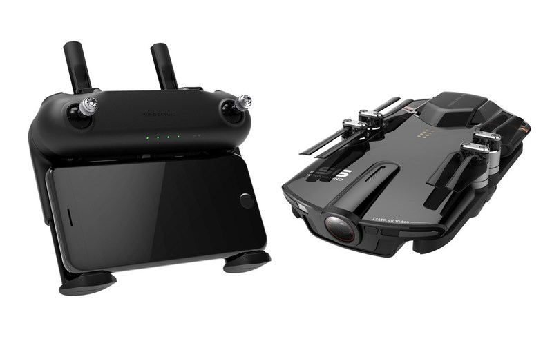 Wingsland S6 4k30 pocket drone with optional remote with integrated smartphone holder