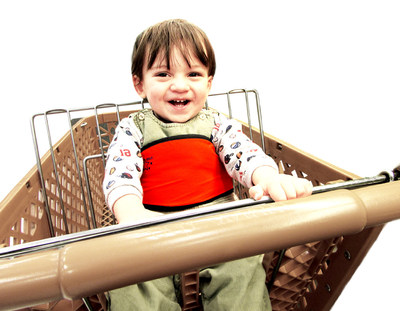 Yochi Yochi child safety harness helps avoid shopping cart injuries, functions as portable high chair and walking harness