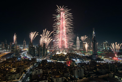 Dubai welcomes 2017 with a spectacular fireworks display in Downtown Dubai with the iconic Burj Khalifa illuminated in various hues. (PRNewsFoto/Emaar Properties)