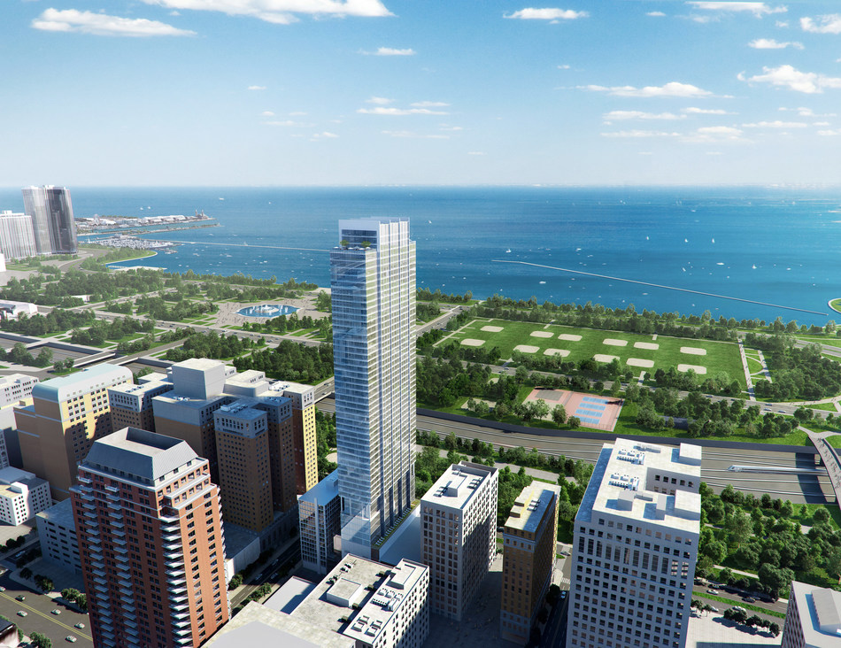 Aerial rendering of Essex of the Park, featuring views of Lake Michigan and Grant Park, courtesy of Oxford Capital Group / Hartshorne Plunkard Architecture
