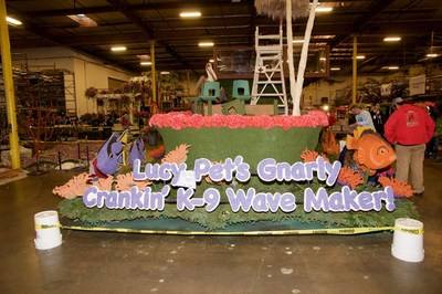 Lucy Pet's Gnarly Crankin' K9 Wave Maker 2017 Tournament of Roses Parade float under construction at the Fiesta Float barn in Irwindale, Calif. The 126-foot-long, 148,250 lbs. float set the Guinness World Record for the longest and heaviest float in history. The float will also feature surfing dogs who will ride the wild waves throughout the Tournament of Roses Parade on Jan. 2 in Pasadena, Calif.