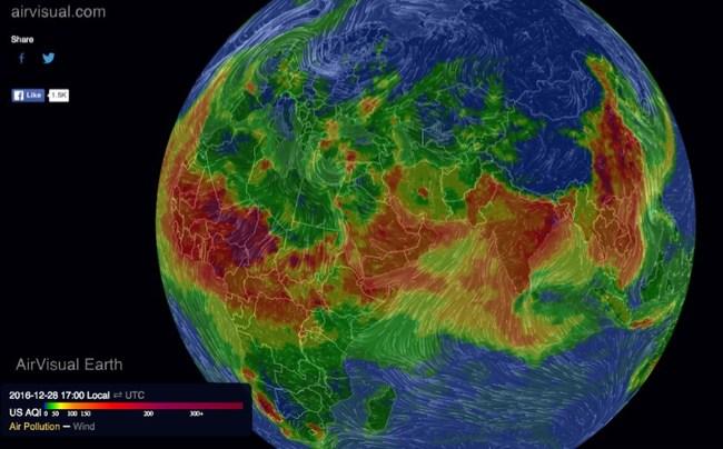 AirVisual Earth air pollution map
