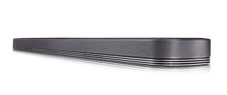 Leading LG's 2017 audio lineup is the new SJ9 sound bar, which harnesses the power of Dolby Atmos(R) technology to recreate the ultimate cinema audio experience. To create a powerful, textured sound, the SJ9 is equipped with multiple cutting-edge speakers, including two up-firing speakers, surrounding the listener from every angle.