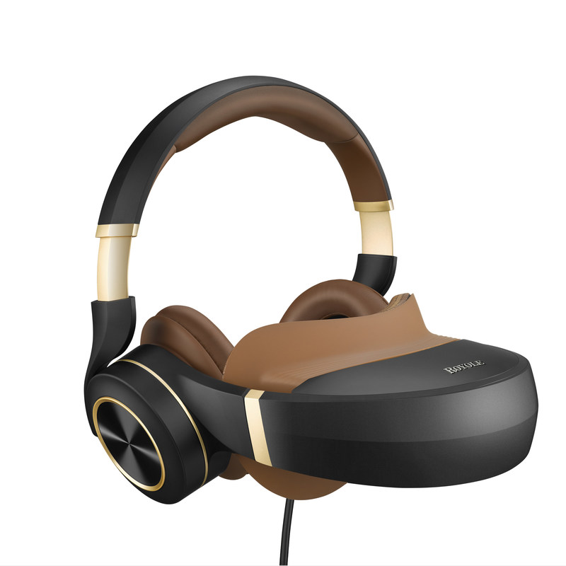 """Royole Moon combines two Full HD 1080p AMOLED displays at over 3000 ppi resolution that simulate a giant 800"""" curved screen with stereoscopic 3D, and active noise cancelling headphones, to deliver cinematic movie-watching and immersive-gaming experiences anywhere the wearer desires."""