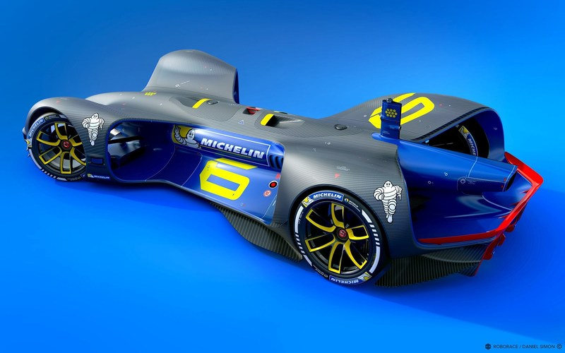 Robocar, designed by Daniel Simon, will exclusively feature next-generation MICHELIN road tyres to be used in the Roborace series (PRNewsFoto/Michelin (AIM))