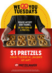 Enjoy $1 Pretzels Every Tuesday in January as Part of Customer Appreciation Month at Pretzelmaker®