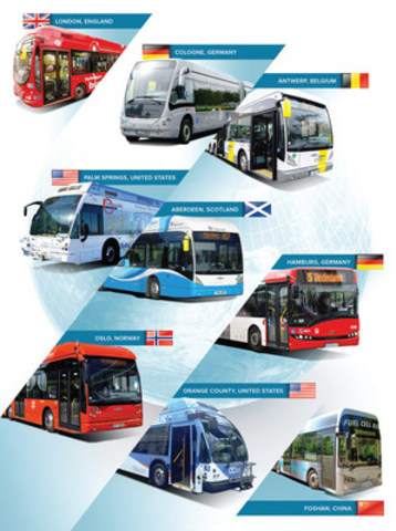 Sample of Ballard-powered fuel cell electric buses (CNW Group/Ballard Power Systems Inc.)