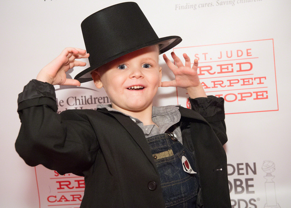 St. Jude patient Brogan on the red carpet at a 2016 viewing party at a St. Jude housing facility. Credit: St. Jude Children's Research Hospital