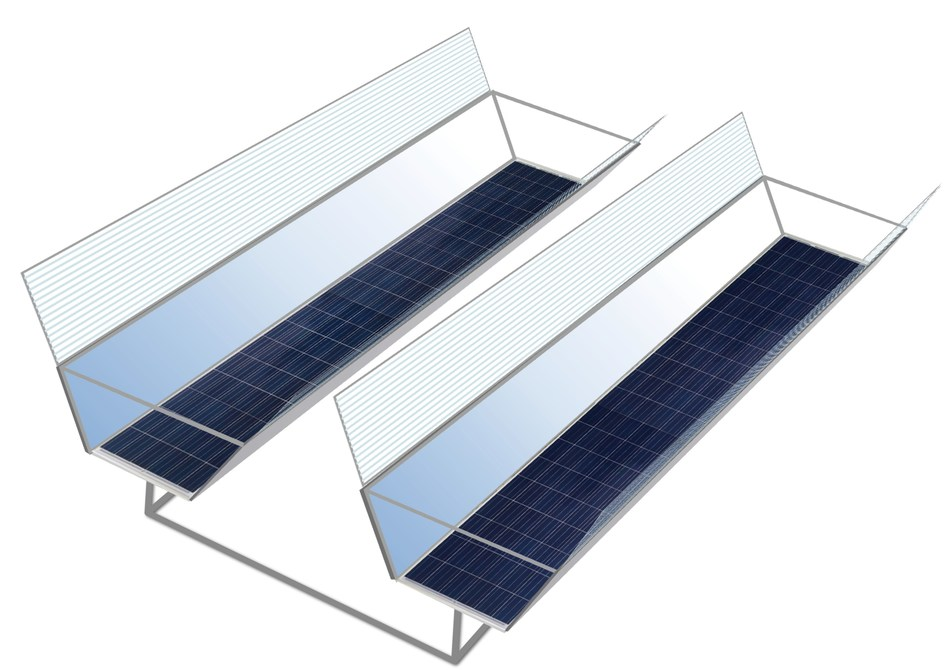 Artist rendering of Boly Solar Doubler. - 1.8-2 times annual electricity output boost from fixed PV installations. Attaches to any solar panel, with or without a single axis tracking. Option for low cost single axis tracker with self-cleaning technology