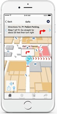 """Connexient's MediNev features true turn-by-turn indoor """"blue dot"""" navigation to guide users to their destinations"""