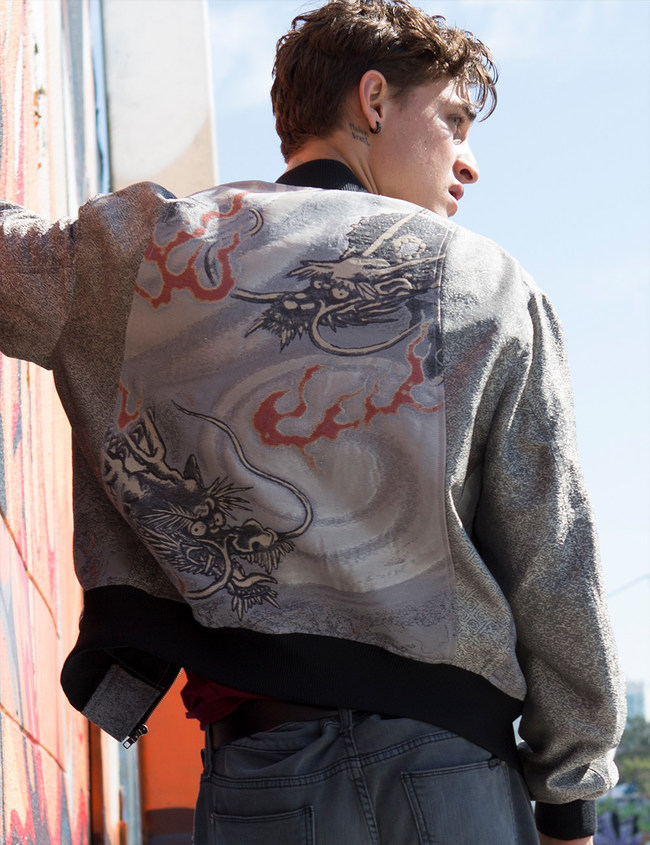 Twin dragon bomber jacket