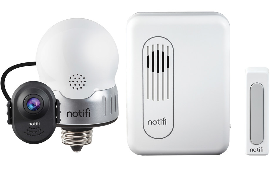 The notifi LED Bulb, Video Doorbell System - Everything a homeowner needs to add safety and security to any exterior door in the home, including the camera, wireless pushbutton ringer, chime and app. A retrofitted LED bulb inconspicuously combines the camera with the lighting source.