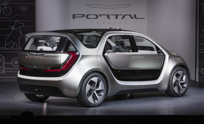 Las Vegas - January 3, 2017 - Fiat Chrysler Automobiles unveiled the Chrysler Portal Concept at CES 2017 today.  Designed to grow with millennials through their life stages, the Chrysler Portal Concept is electric powered, seats six and has a number of high-tech sensors that allows it to be classified as a semi-autonomous vehicle. For more information visit media.fcanorthamerica.com. (PRNewsFoto/FCA US LLC)