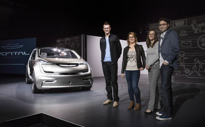 Las Vegas - January 3, 2017 - Fiat Chrysler Automobiles unveiled the Chrysler Portal Concept at CES 2017 today.  Designed to grow with millennials through their life stages, the Chrysler Portal Concept is electric powered, seats six and has a number of high-tech sensors that allows it to be classified as a semi-autonomous vehicle. Chrysler Portal Concept team members participating in the reveal are, from left:  Matt Dunford, Exterior Design; Cindy Juette, Interior Design; Ashley Edgar, Engineering, and Emilio Feliciano, User Experience. (PRNewsFoto/FCA US LLC)