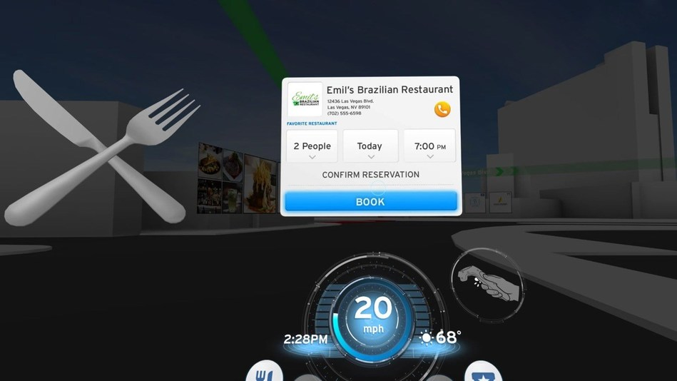 The Honda Dream Drive CES demo includes a VR experience where geotagged points of interest and content appear that users can interact with, such as a restaurant, with an option to make a reservation from the car.