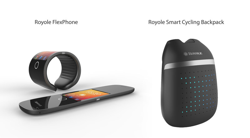 The Smart Cycling Backpack utilizes Royole's proprietary flexible sensor technology while the FlexPhone incorporates both the flexible display and flexible sensor technologies.