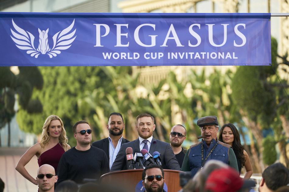 Conor McGregor & Jon Lovitz on set filming the Pegasus World Cup Invitational '13th Jockey' series