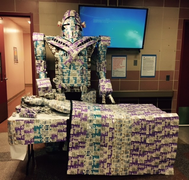 """The Made by Milk contest theme for Fall 2016 was """"Inventions"""" - with entries ranging from a robotic surgeon to an entire platoon of planes; all made from repurposed milk cartons. John F. Kennedy Jr. High School of  Elmhurst, New York created an incredibly creative  """"Surgeon Moby"""" from hundreds of school lunch milk cartons!"""