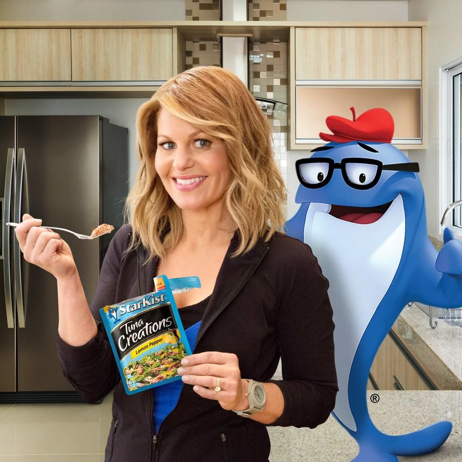StarKist(R) 2017 spokesperson Candace Cameron Bure enjoys a single-serve pouch of StarKist(R) Tuna Creations(R) alongside iconic mascot Charlie(R) the Tuna.