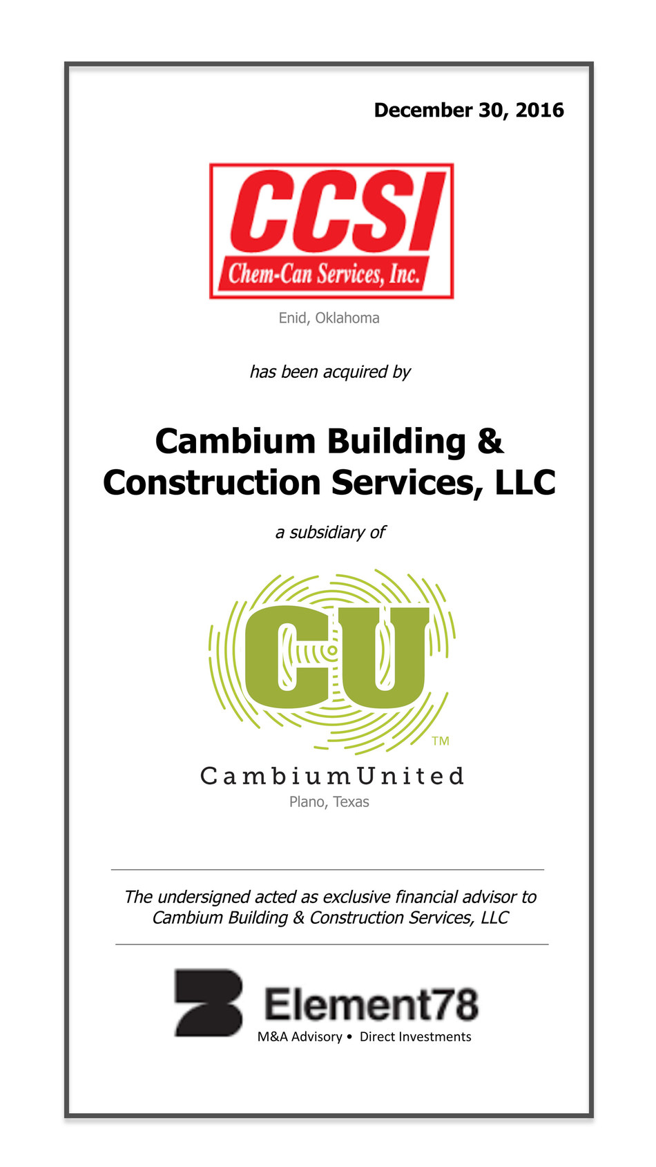 Cambium Building & Construction Services, LLC purchases Chem-Can Services, Inc.