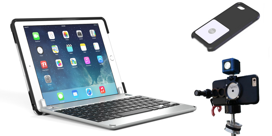 OtterBox is partnering with multiple new partners to launch new accessories for uniVERSE Case System. Left, Brydge 9.7 Keyboard; top right Tile Slim Bluetooth Tracker; bottom right, StabylCam StabylRig Image Stabilizer.