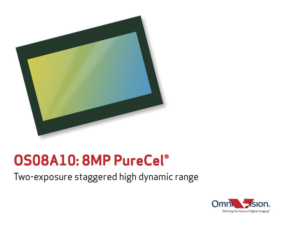 OmniVision's 8-megapixel PureCel(R) sensor with two-exposure staggered high dynamic range.